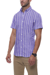 Soft Indigo Striped Cotton Linen: Button-Down Collar, Short Sleeve