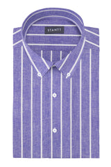 Soft Indigo Striped Cotton Linen: Button-Down Collar, Long Sleeve