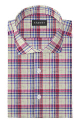Linen Red Multi Plaid: Cutaway Collar, Barrel Cuff