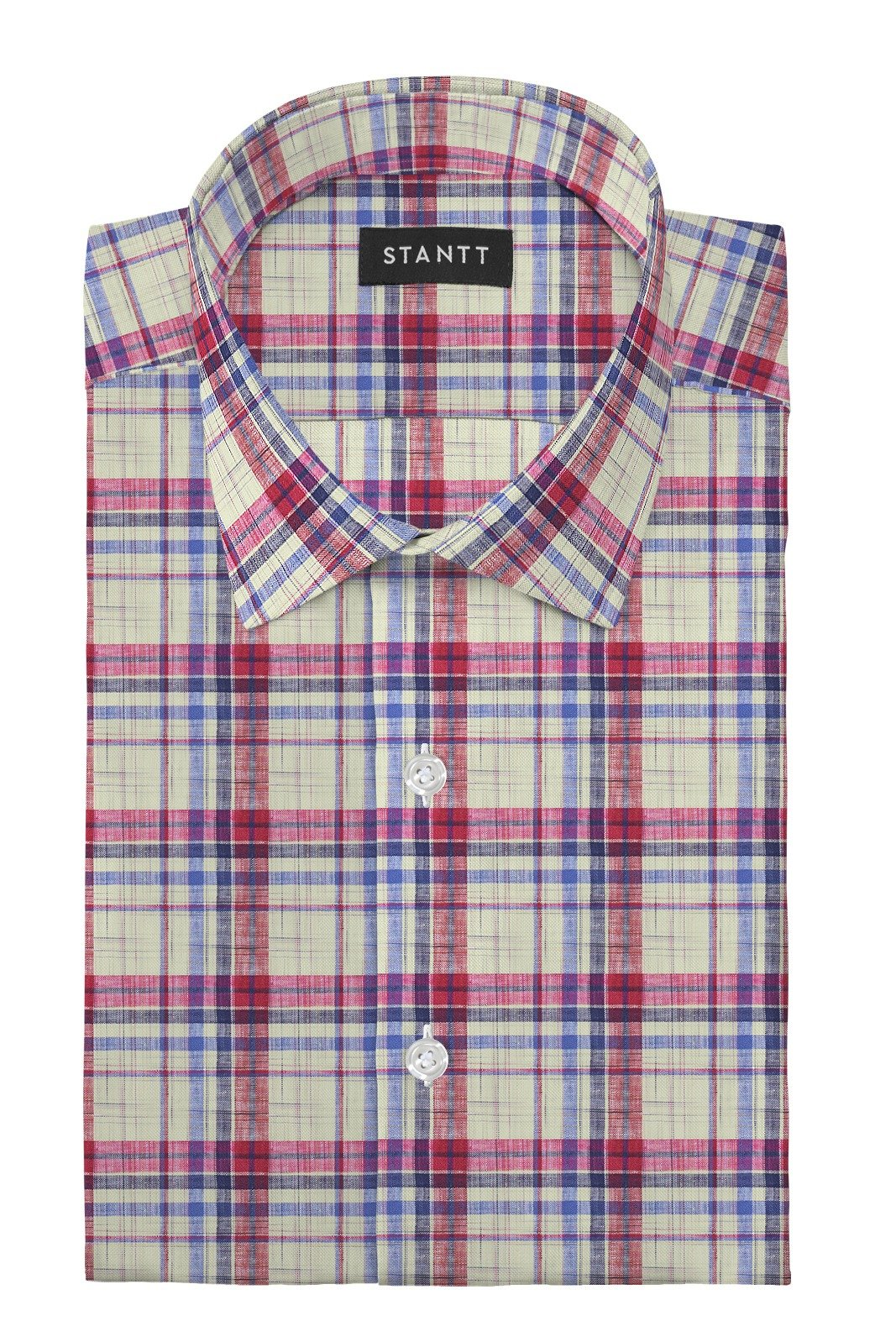 Linen Red Multi Plaid: Modified-Spread Collar, Barrel Cuff