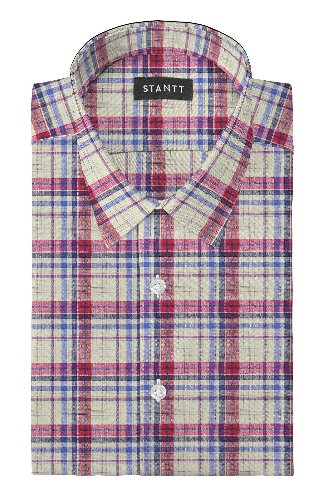 Linen Red Multi Plaid: Semi-Spread Collar, Barrel Cuff