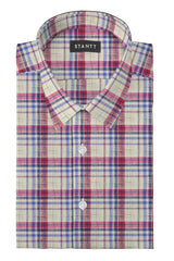 Linen Red Multi Plaid: Semi-Spread Collar, French Cuff