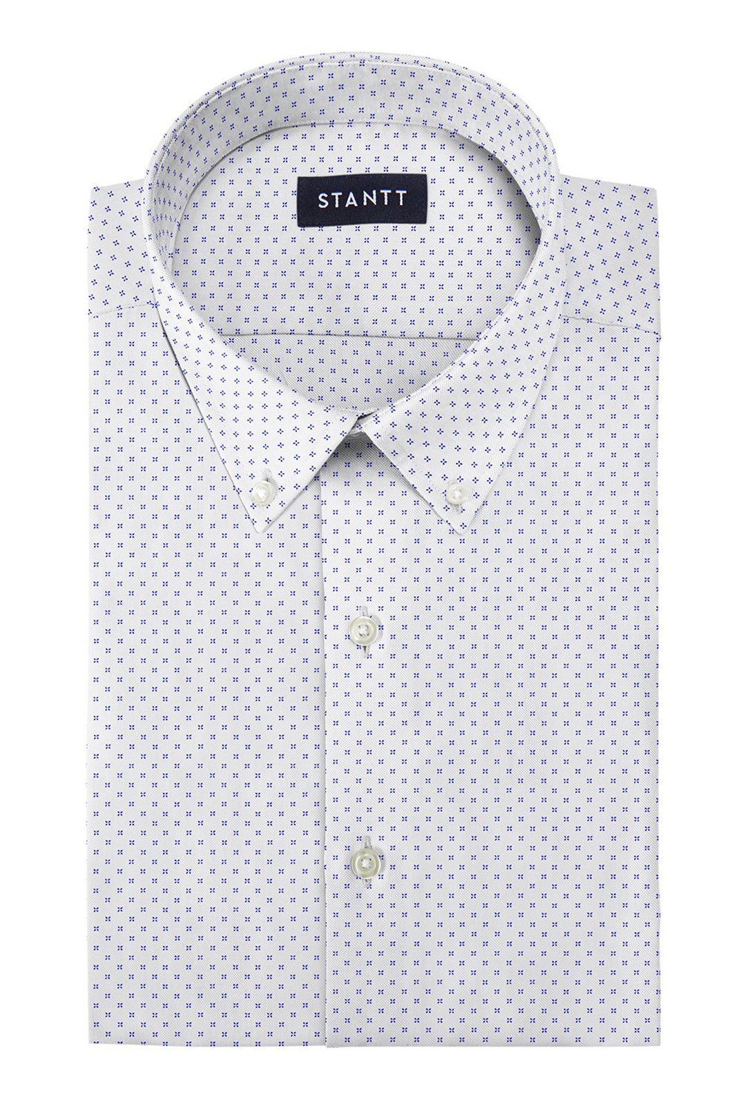 White and Cobalt Clover Print: Button-Down Collar, Barrel Cuff