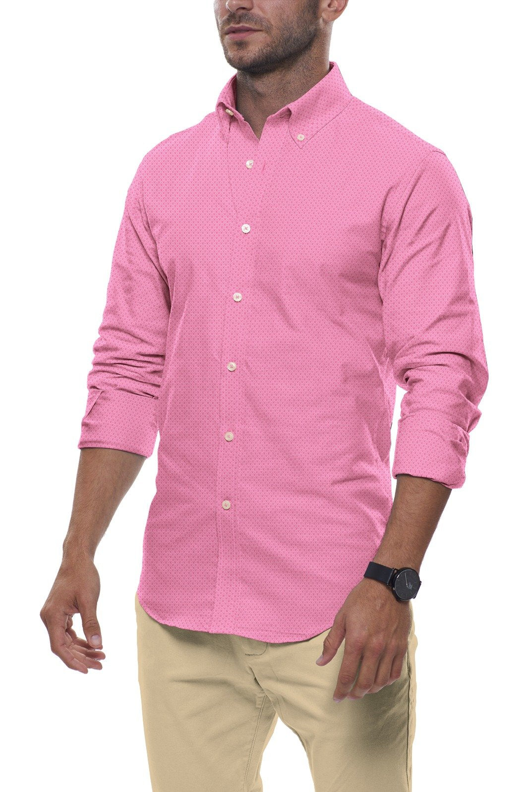 Pop Pink Floral Stretch Cotton: Button-Down Collar, Long Sleeve