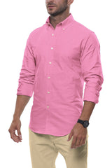 Pop Pink Floral Stretch Cotton: Semi-Spread Collar, Long Sleeve