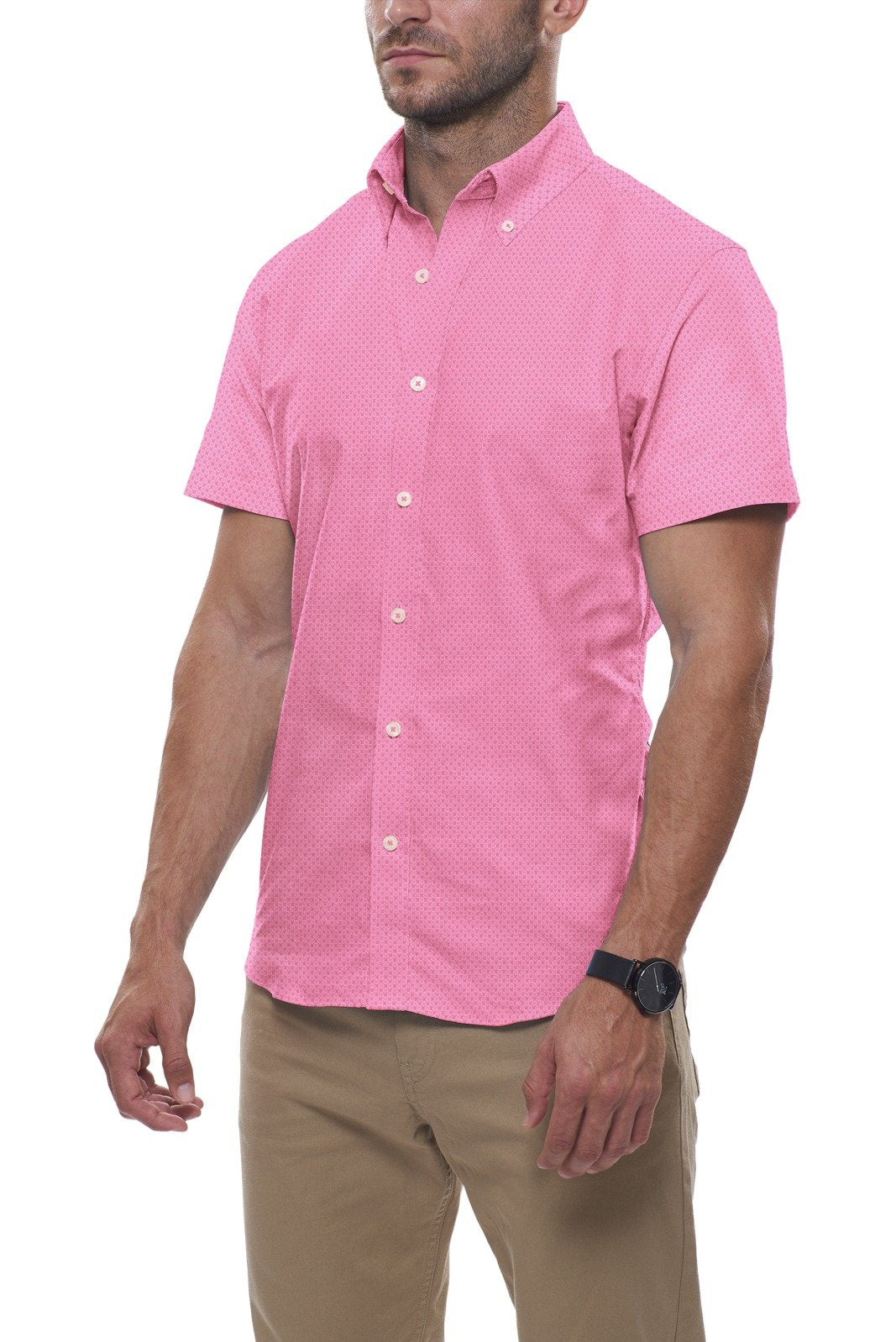Pop Pink Floral Stretch Cotton: Button-Down Collar, Short Sleeve