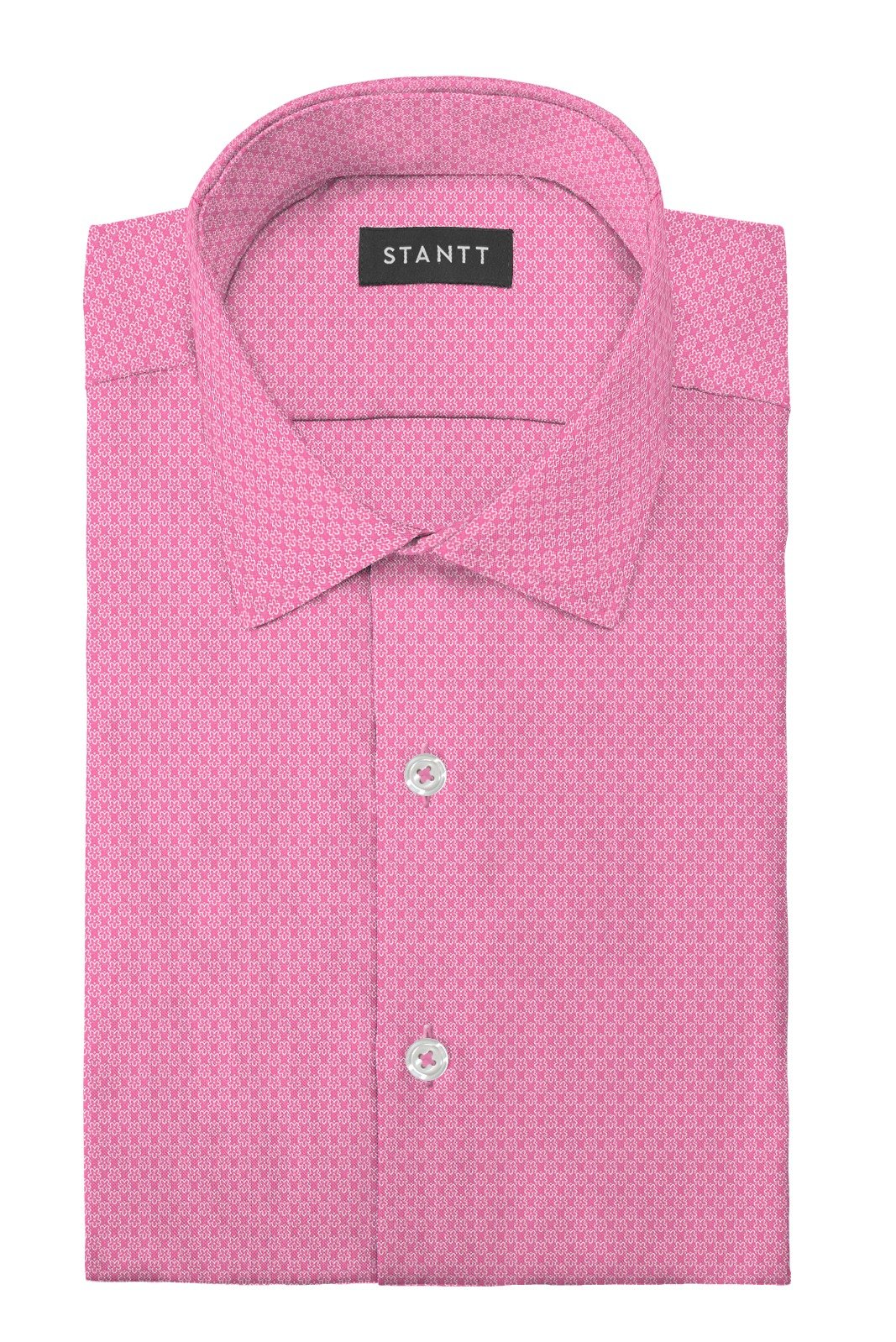 Pop Pink Floral Stretch Cotton: Modified-Spread Collar, Barrel Cuff