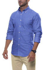 Bright Blue Floral Stretch Cotton: Button-Down Collar, Long Sleeve