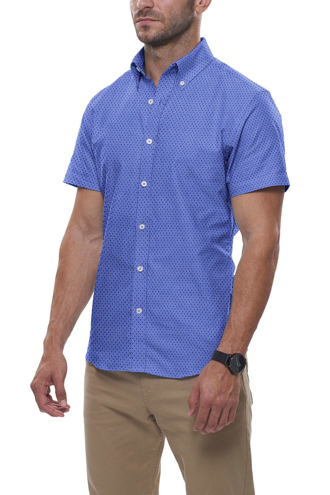 Bright Blue Floral Stretch Cotton: Button-Down Collar, Short Sleeve