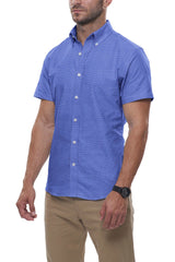 Bright Blue Floral Stretch Cotton: Semi-Spread Collar, Short Sleeve