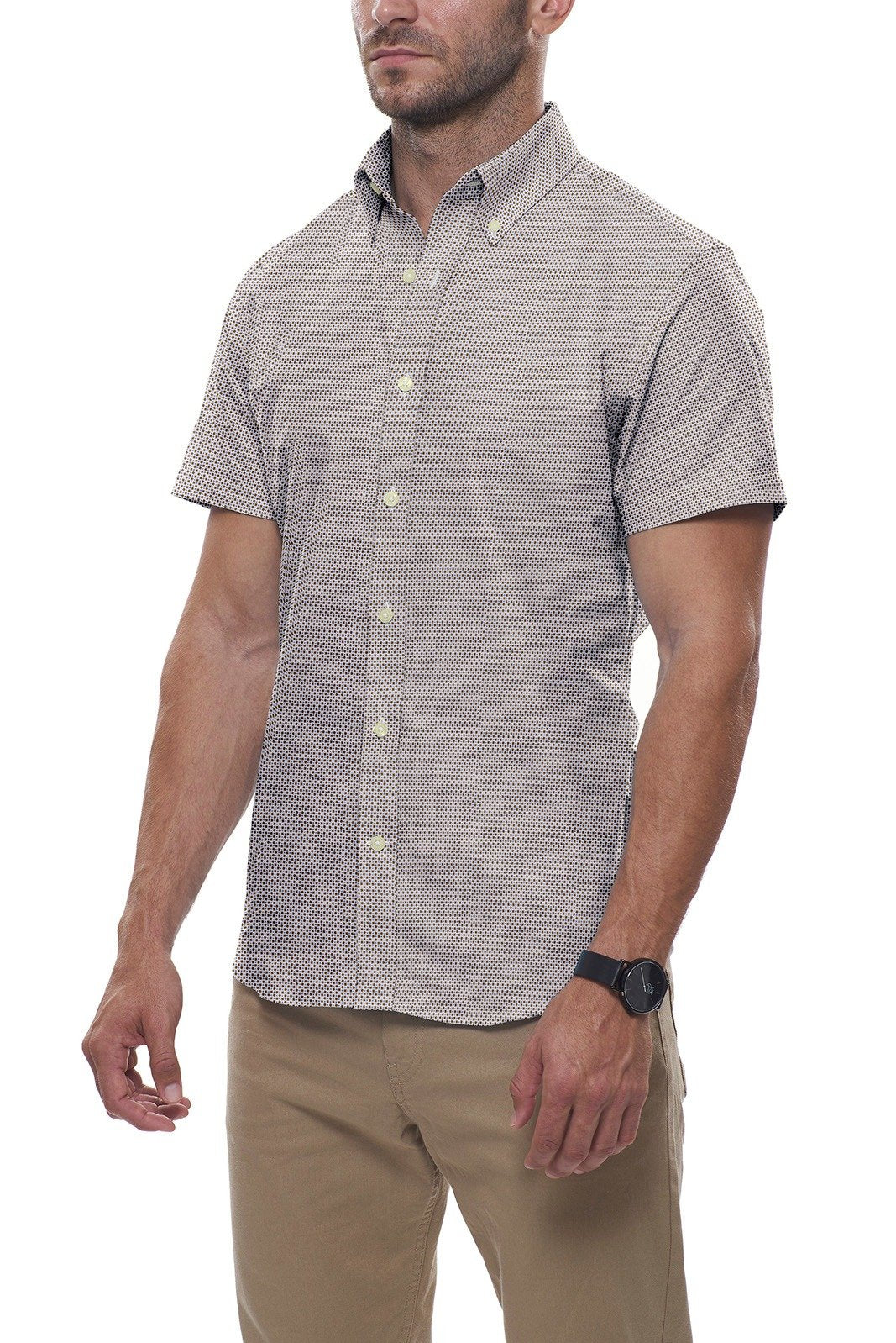 Brown and Blue Micro Geo Print: Semi-Spread Collar, Short Sleeve