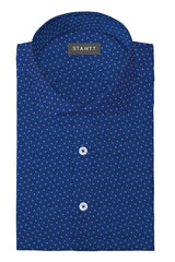 Blue Multi Polka Dot Print: Cutaway Collar, French Cuff