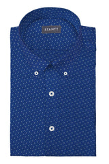 Blue Multi Polka Dot Print: Button-Down Collar, Barrel Cuff