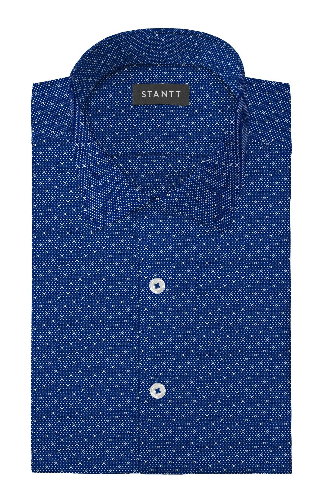 Blue Multi Polka Dot Print: Modified-Spread Collar, French Cuff