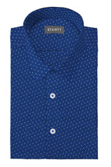 Blue Multi Polka Dot Print: Semi-Spread Collar, Barrel Cuff