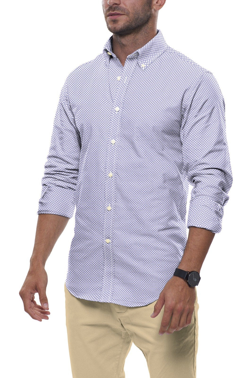 White and Blue Circle Print: Semi-Spread Collar, Long Sleeve