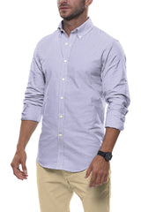 White and Blue Circle Print: Button-Down Collar, Long Sleeve