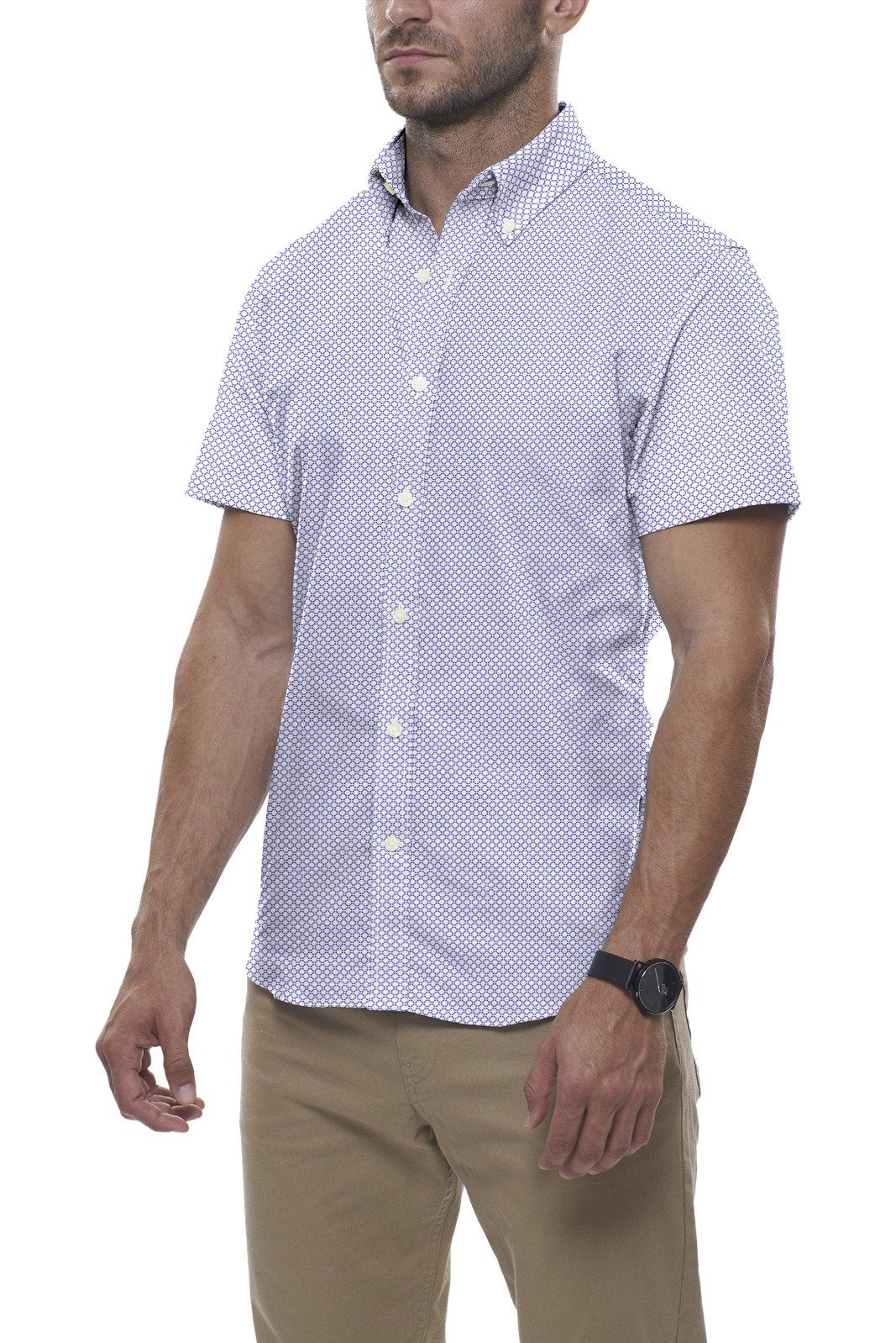 White and Blue Circle Print: Semi-Spread Collar, Short Sleeve