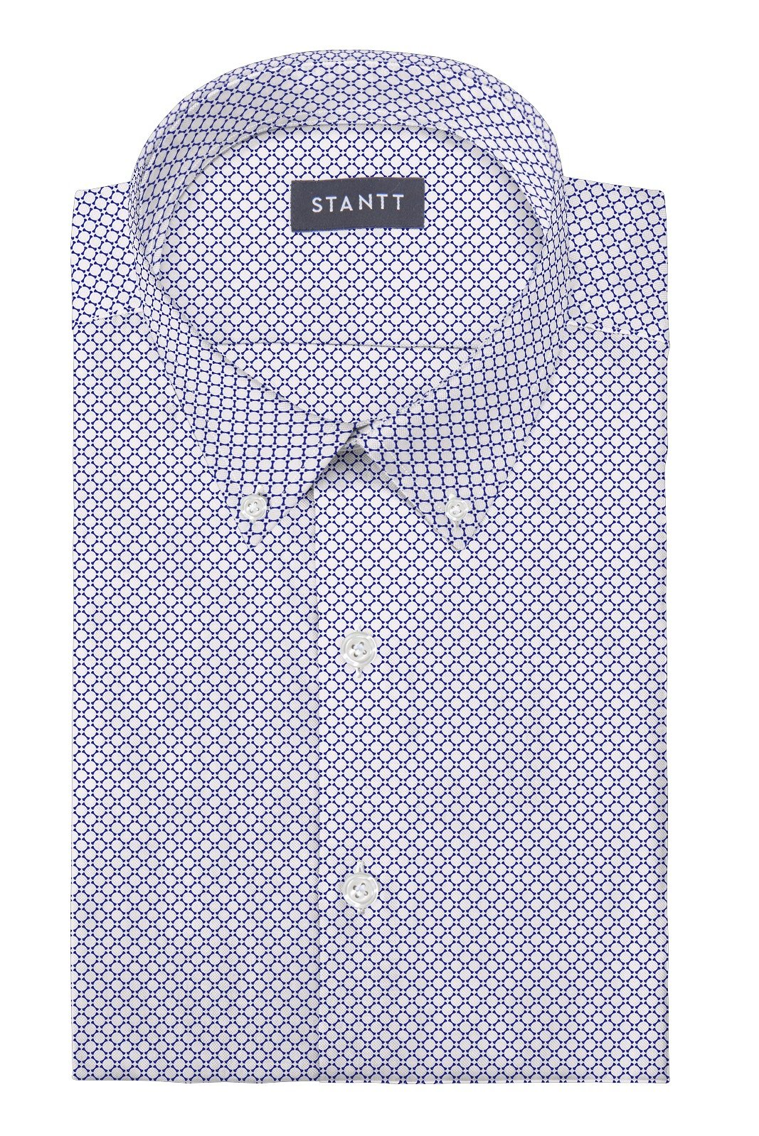 White and Blue Circle Print: Button-Down Collar, Barrel Cuff