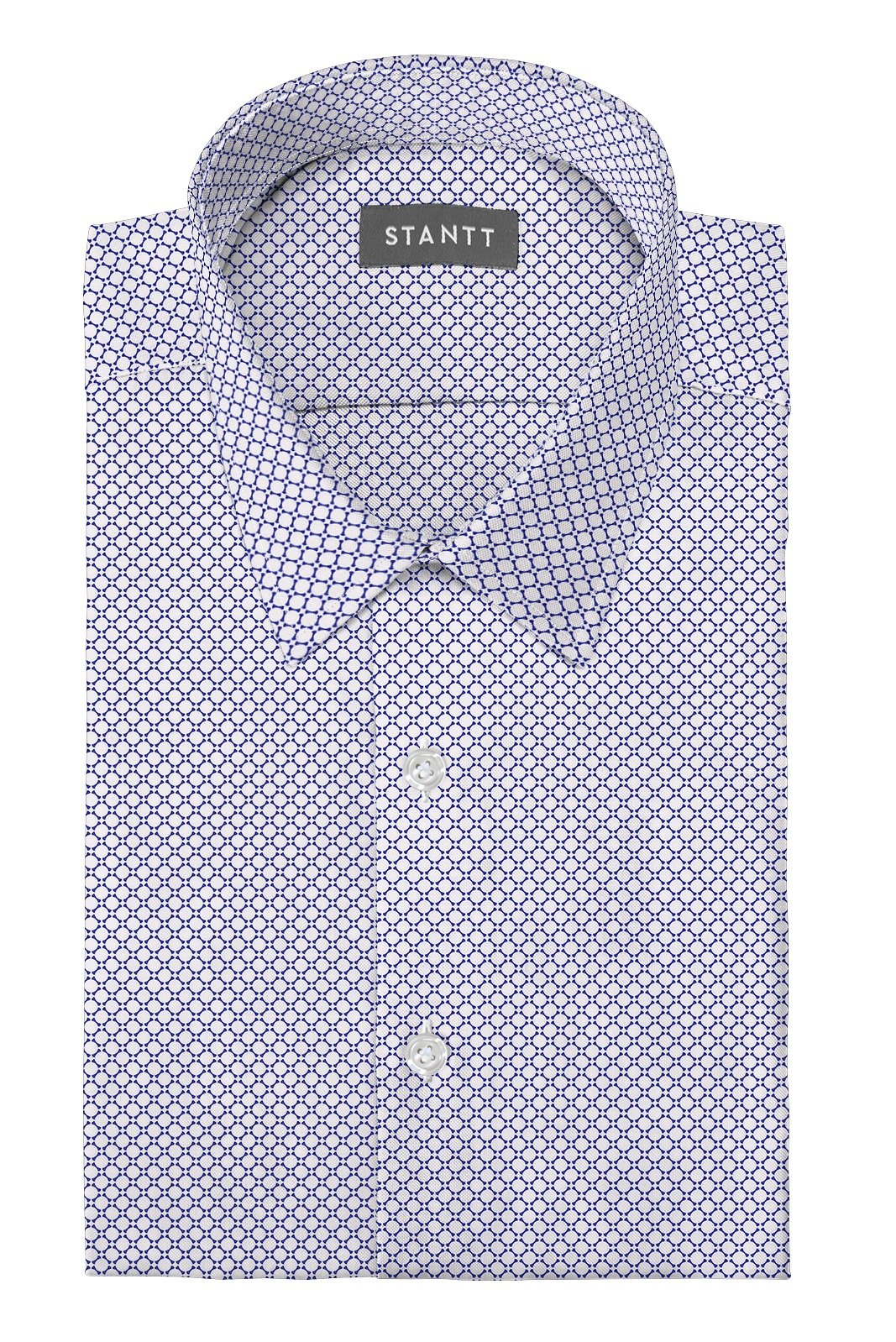 White and Blue Circle Print: Semi-Spread Collar, Barrel Cuff