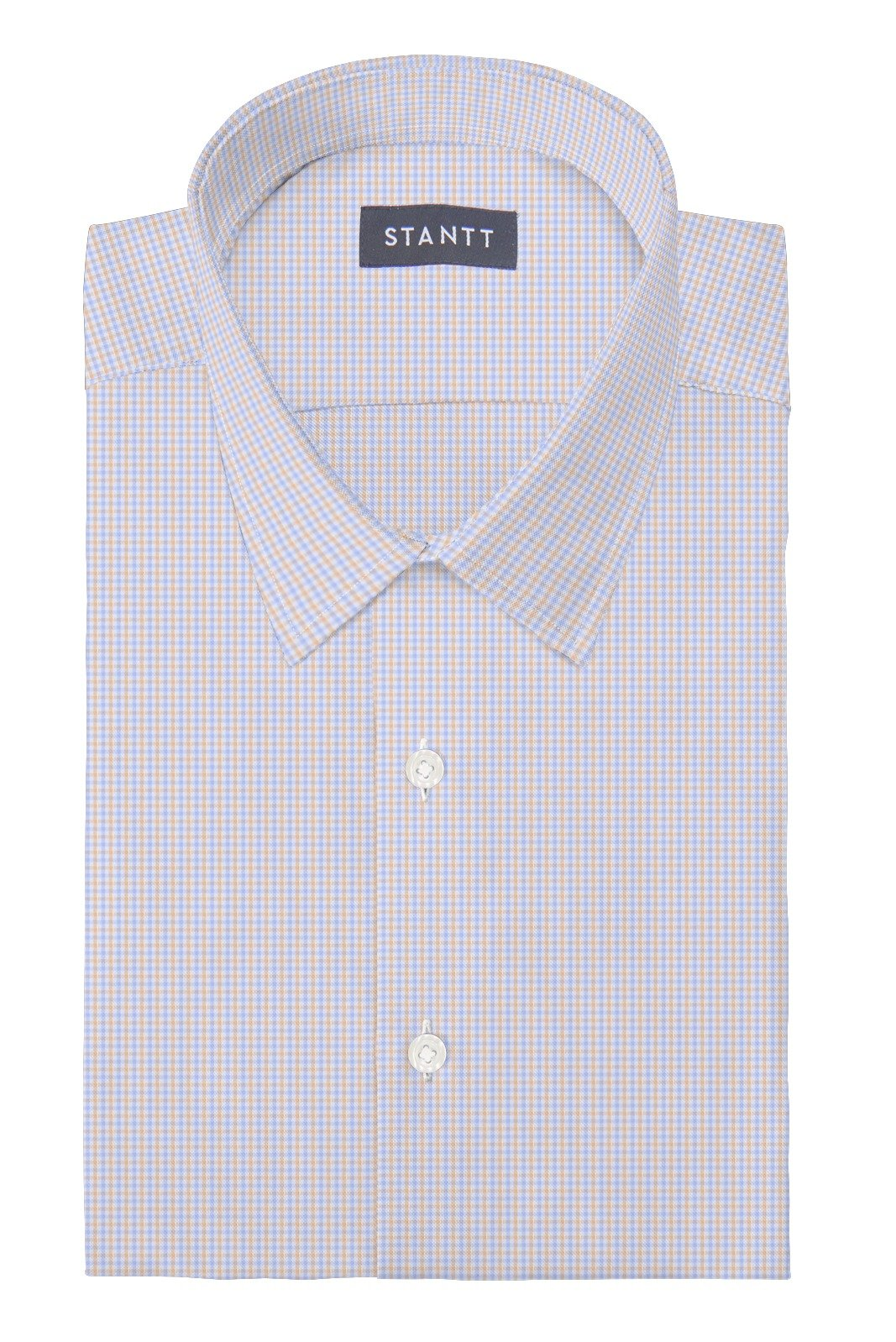 Matrix Sky Blue and Melon Tattersall: Semi-Spread Collar, Barrel Cuff