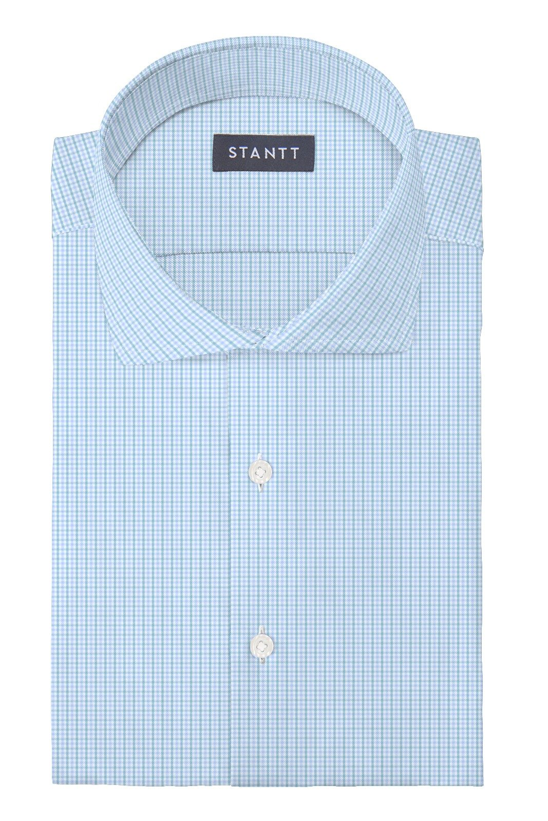 Matrix Sky Blue and Lime Tattersall: Cutaway Collar, French Cuff
