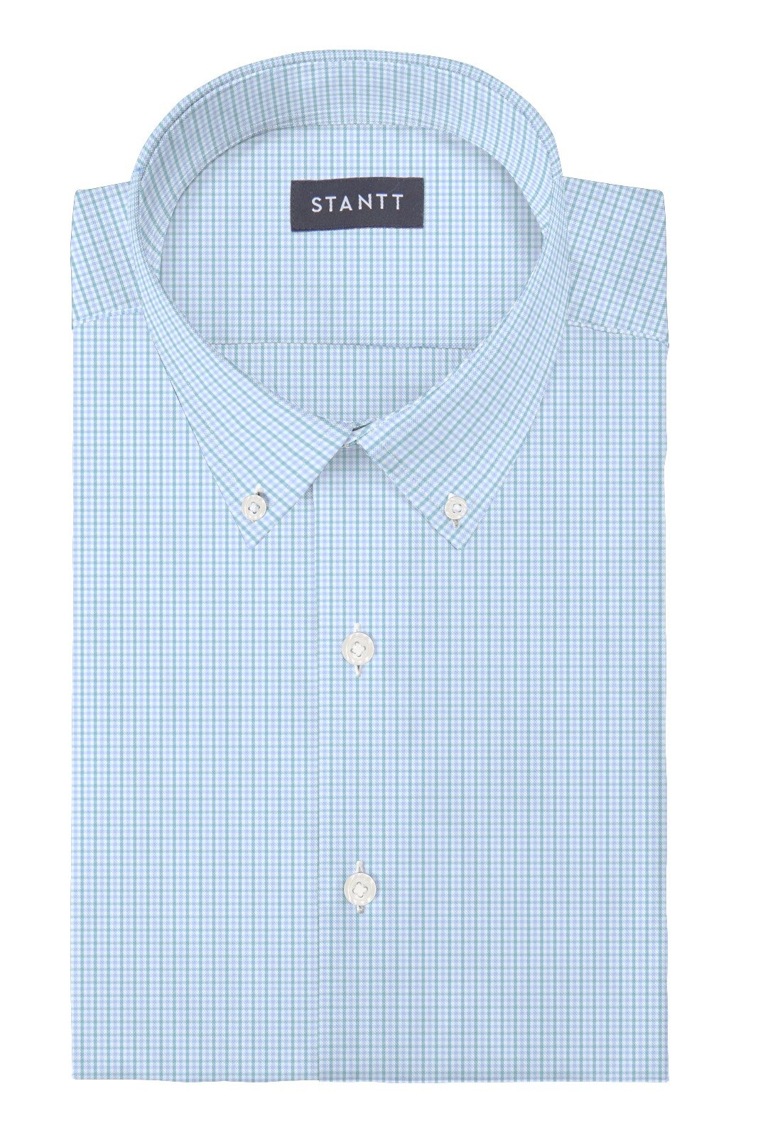 Matrix Sky Blue and Lime Tattersall: Button-Down Collar, Barrel Cuff