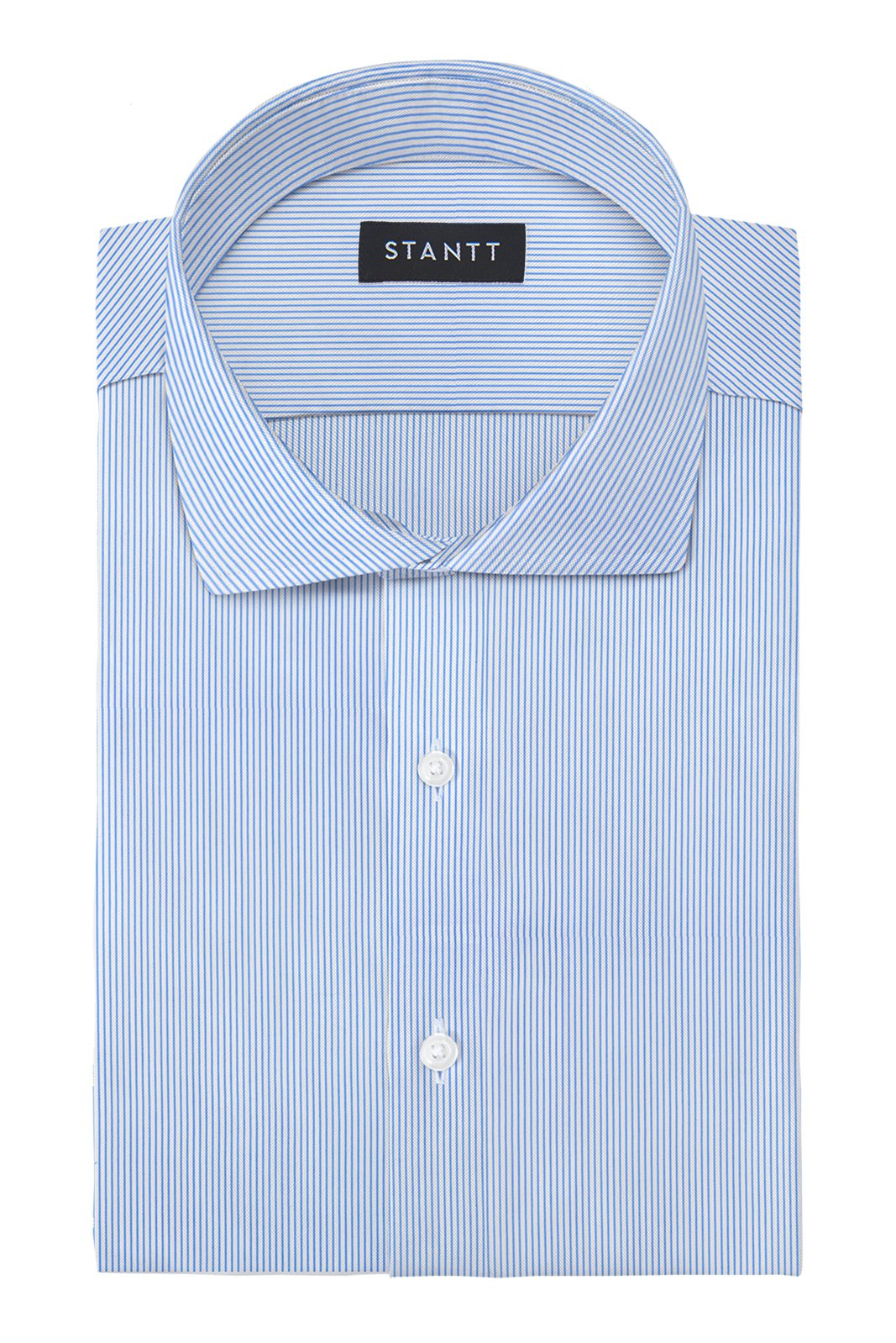 Performance Blue Bengal Stripe: Cutaway Collar, French Cuff