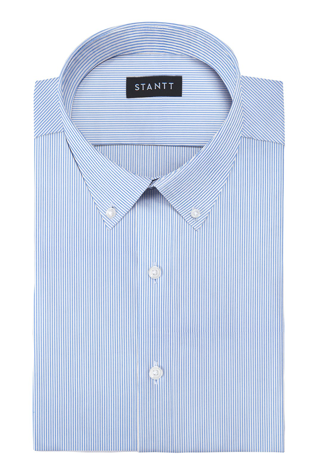 Performance Blue Bengal Stripe: Button-Down Collar, Barrel Cuff