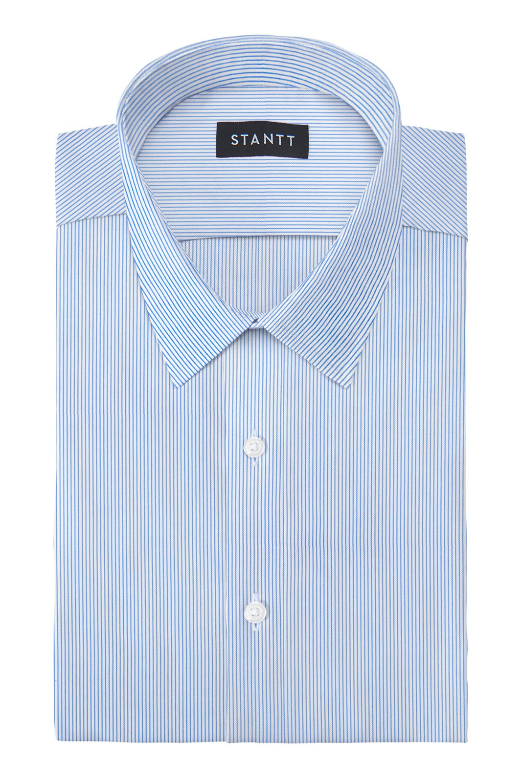 Performance Blue Bengal Stripe: Semi-Spread Collar, French Cuff