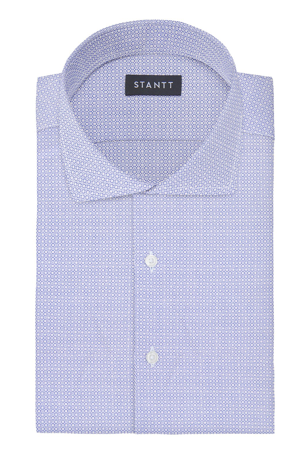 Performance Sky Blue Mosaic Print: Cutaway Collar, Barrel Cuff