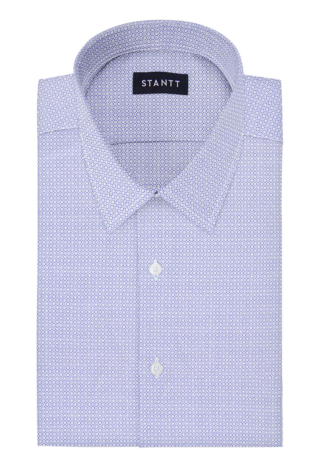 Performance Sky Blue Mosaic Print: Semi-Spread Collar, Barrel Cuff