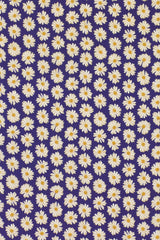 Daisy on Navy Printed Cotton: Semi-Spread Collar, French Cuff