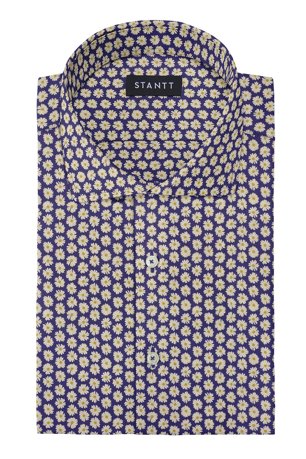 Daisy on Navy Printed Cotton: Cutaway Collar, French Cuff