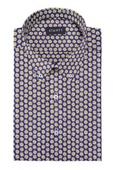 Daisy on Navy Printed Cotton: Button-Down Collar, Barrel Cuff