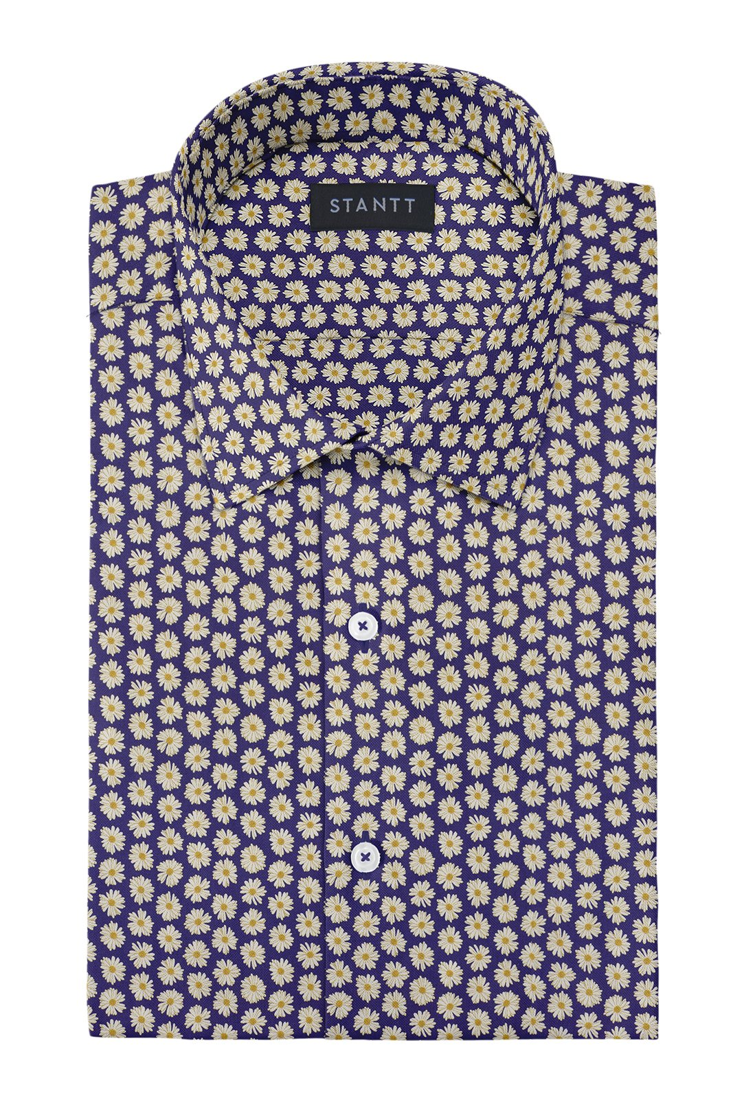 Daisy on Navy Printed Cotton: Modified-Spread Collar, French Cuff
