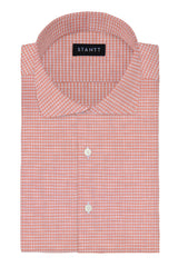Light Coral Melange Gingham: Cutaway Collar, French Cuff