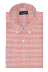 Light Coral Melange Gingham: Button-Down Collar, Barrel Cuff