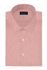 Light Coral Melange Gingham: Modified-Spread Collar, Barrel Cuff