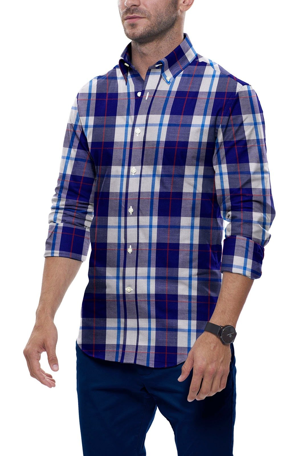 Red Accented Indigo Plaid: Semi-Spread Collar, Long Sleeve