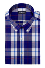 Red Accented Indigo Plaid: Button-Down Collar, Short Sleeve
