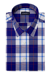 Red Accented Indigo Plaid: Semi-Spread Collar, Short Sleeve