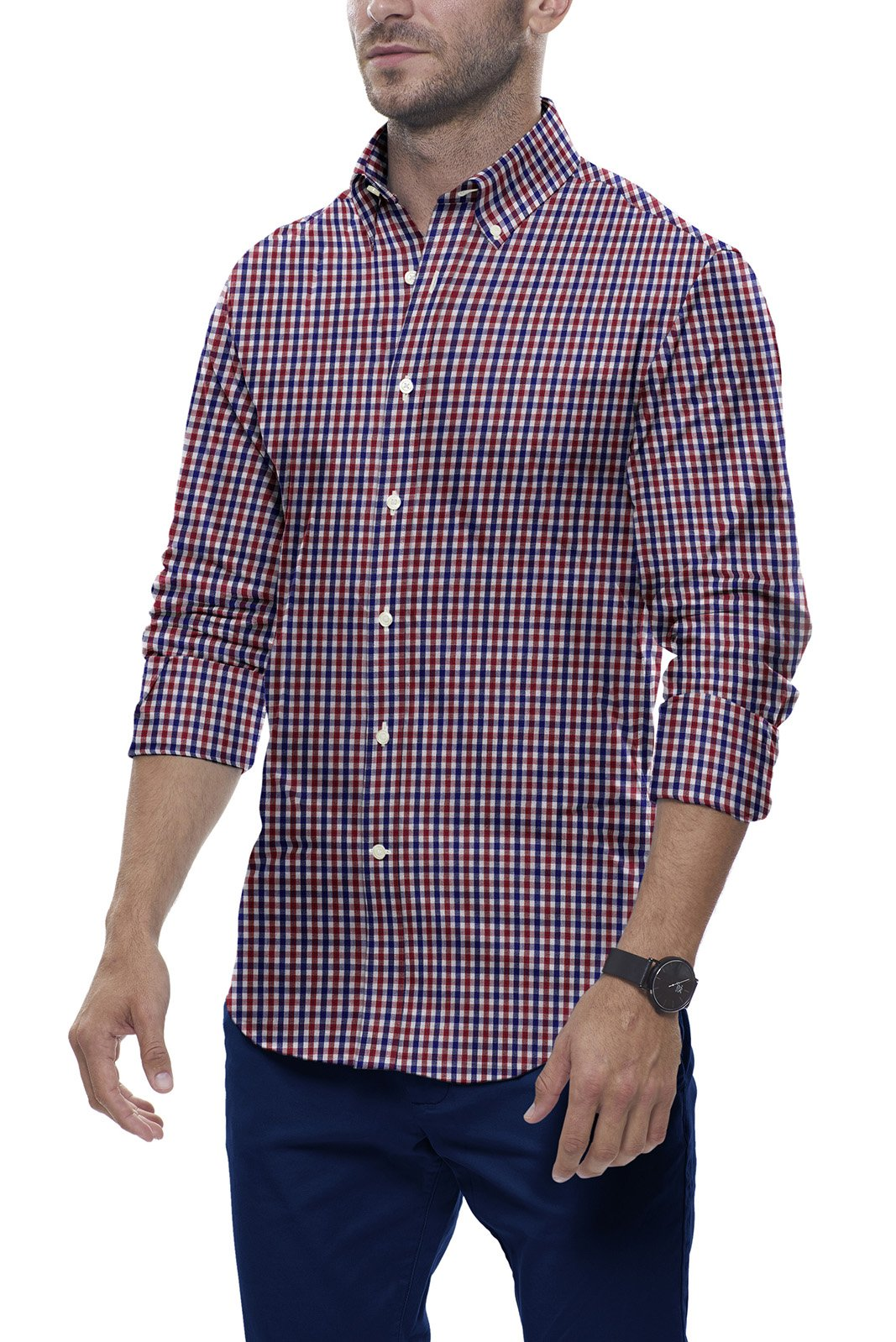 Red and Navy Tartan Check: Semi-Spread Collar, Long Sleeve
