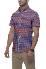 Red and Navy Tartan Check: Semi-Spread Collar, Short Sleeve