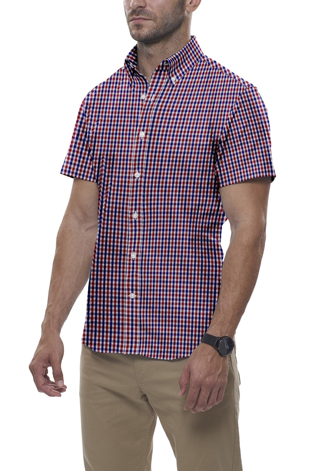 Red and Navy Tartan Check: Button-Down Collar, Short Sleeve