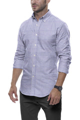 Heather Steel Blue Mini Check: Button-Down Collar, Long Sleeve
