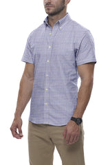 Heather Steel Blue Mini Check: Button-Down Collar, Short Sleeve