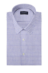 Heather Steel Blue Mini Check: Semi-Spread Collar, Short Sleeve