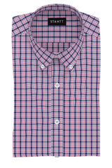 Cardinal Red and Navy Multi Check: Button-Down Collar, Barrel Cuff