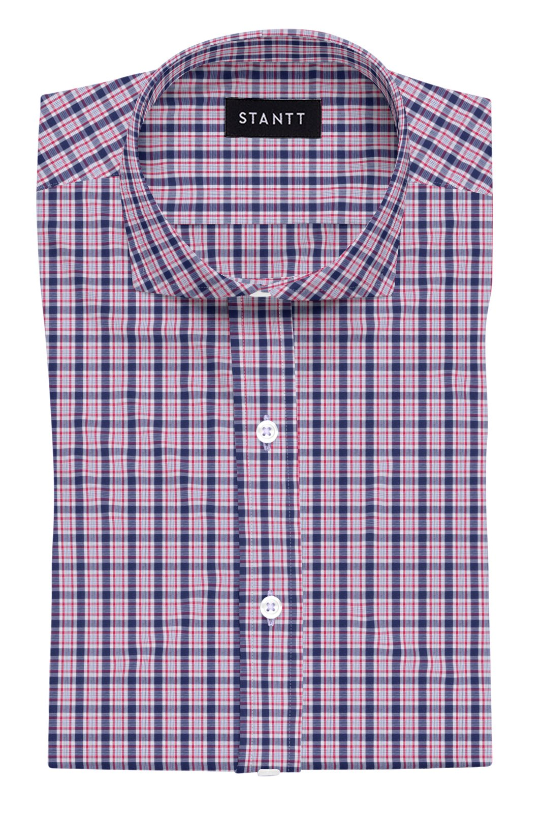 Cardinal Red and Navy Multi Check: Cutaway Collar, Barrel Cuff